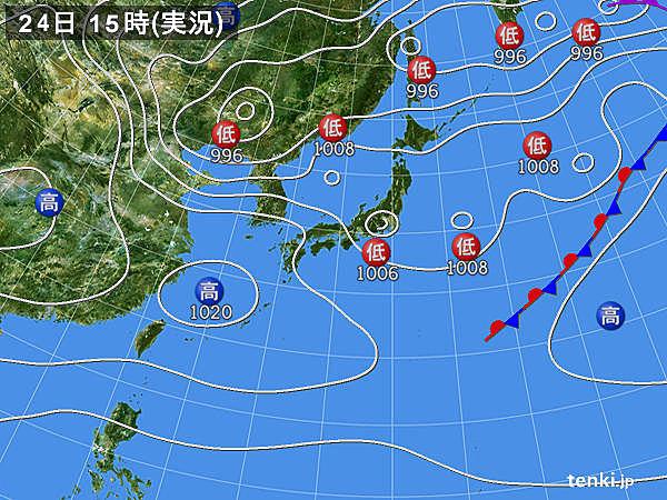 実況天気図(2020年04月24日)