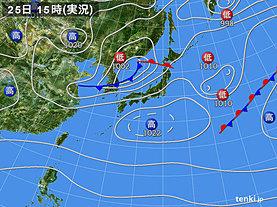 実況天気図(2020年04月25日)