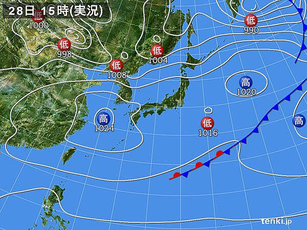 実況天気図(2020年04月28日)