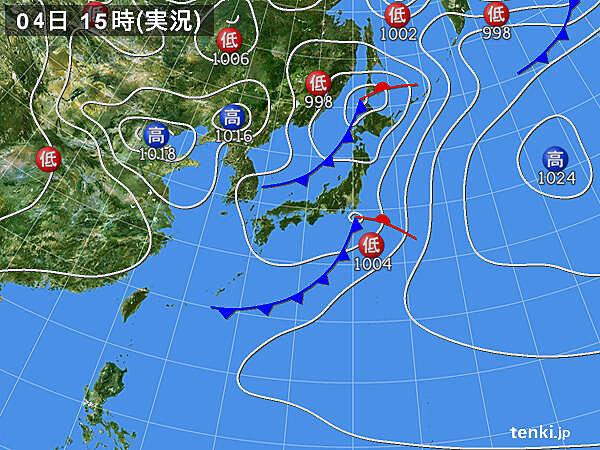 実況天気図(2020年05月04日)