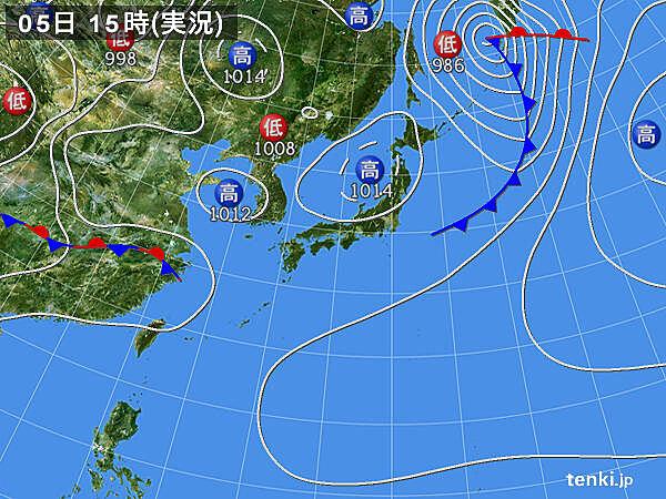 実況天気図(2020年05月05日)