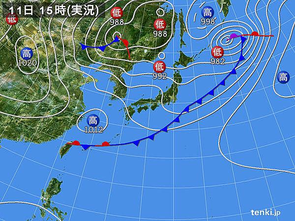 実況天気図(2020年05月11日)