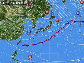 実況天気図(2020年05月13日)