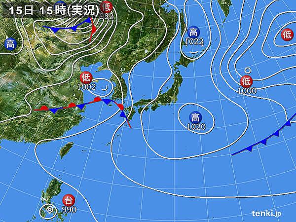 実況天気図(2020年05月15日)