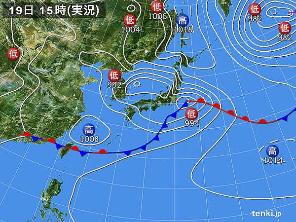 実況天気図(2020年05月19日)