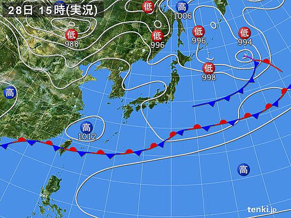 実況天気図(2020年05月28日)