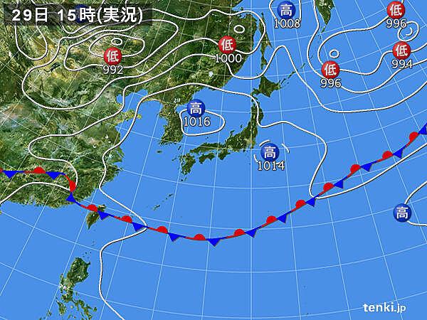 実況天気図(2020年05月29日)