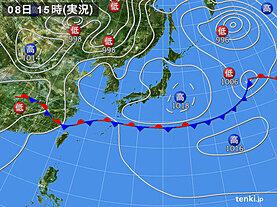 実況天気図(2020年06月08日)