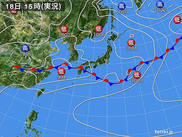 実況天気図(2020年06月18日)