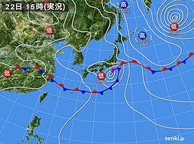 実況天気図(2020年06月22日)