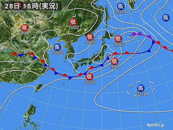 実況天気図(2020年06月28日)