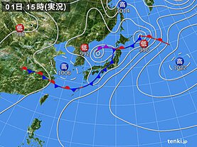 実況天気図(2020年07月01日)