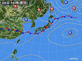 実況天気図(2020年07月08日)