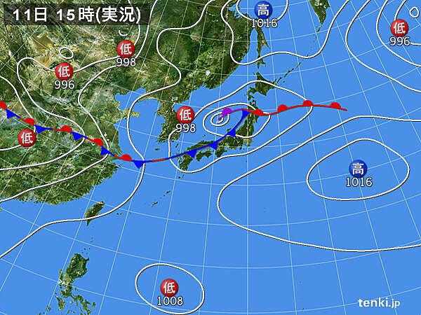 実況天気図(2020年07月11日)