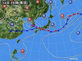 実況天気図(2020年07月13日)
