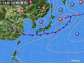 実況天気図(2020年07月16日)