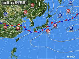 実況天気図(2020年07月18日)