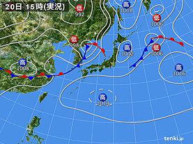 実況天気図(2020年07月20日)
