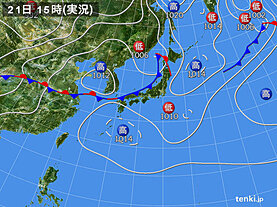 実況天気図(2020年07月21日)