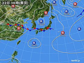 実況天気図(2020年07月22日)