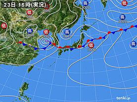 実況天気図(2020年07月23日)