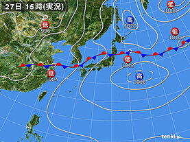 実況天気図(2020年07月27日)