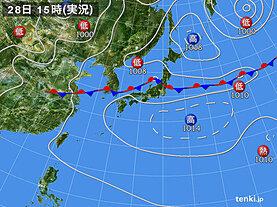 実況天気図(2020年07月28日)