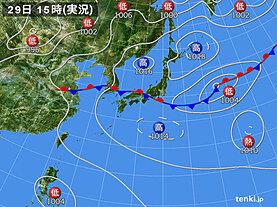 実況天気図(2020年07月29日)