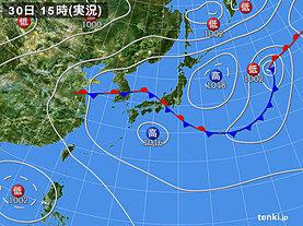 実況天気図(2020年07月30日)