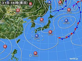 実況天気図(2020年07月31日)