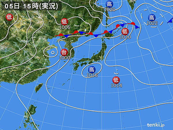 実況天気図(2020年08月05日)