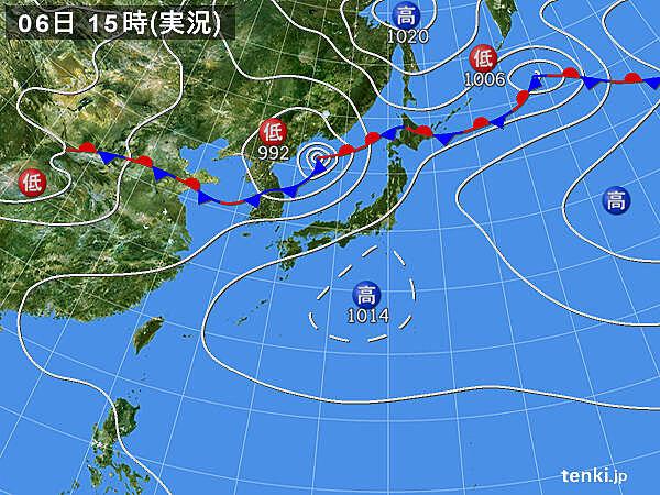 実況天気図(2020年08月06日)