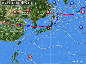 実況天気図(2020年08月07日)