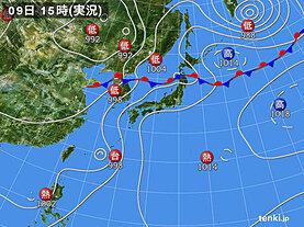 実況天気図(2020年08月09日)