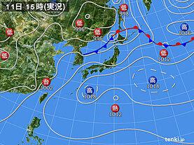 実況天気図(2020年08月11日)
