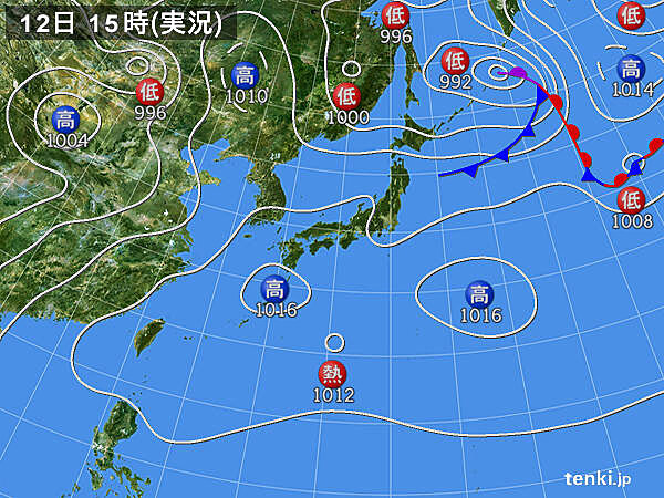 実況天気図(2020年08月12日)