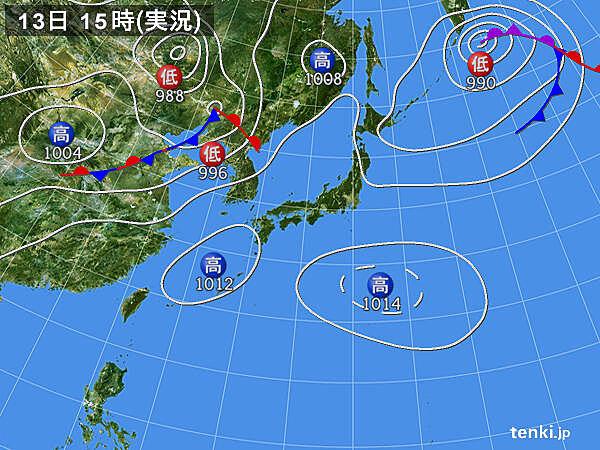 実況天気図(2020年08月13日)