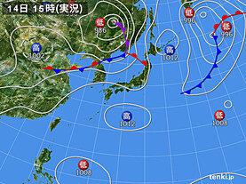 実況天気図(2020年08月14日)