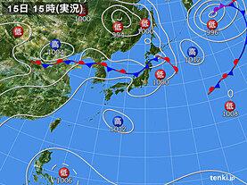 実況天気図(2020年08月15日)