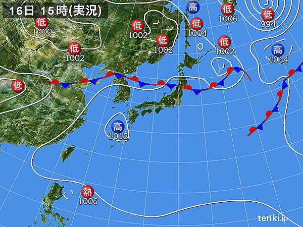 実況天気図(2020年08月16日)