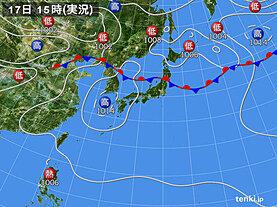 実況天気図(2020年08月17日)