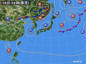 実況天気図(2020年08月18日)