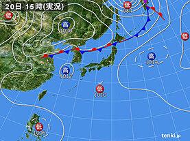 実況天気図(2020年08月20日)