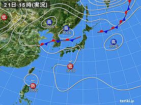 実況天気図(2020年08月21日)