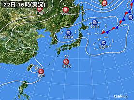 実況天気図(2020年08月22日)
