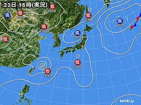 実況天気図(2020年08月23日)