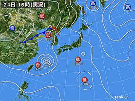 実況天気図(2020年08月24日)
