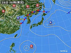 実況天気図(2020年08月28日)