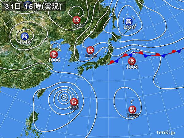 実況天気図(2020年08月31日)