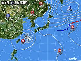 実況天気図(2020年09月01日)
